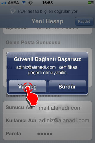 IPhone Mail kurulumu